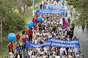 The first-year students of the Flagship University participated in the Parade on the central streets of Volgograd